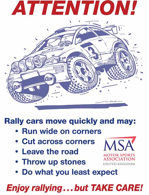 Attention, rally cars move quickly